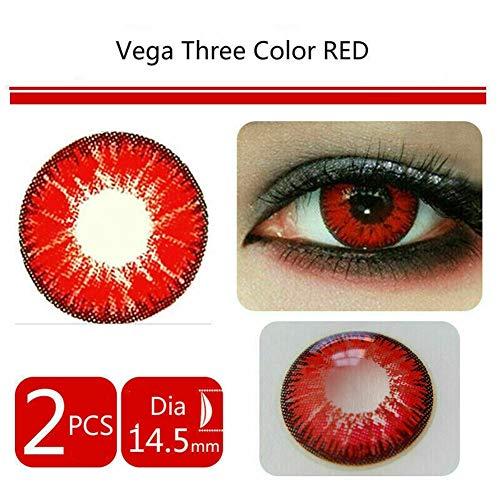 NO LOGO 2pcs Soft Color Lenti a Contatto Occhio cosmetica Trucco Lens Cosplay 1 Anno, 0.00 diottrie Lente a Contatto (Colore : Rosso)
