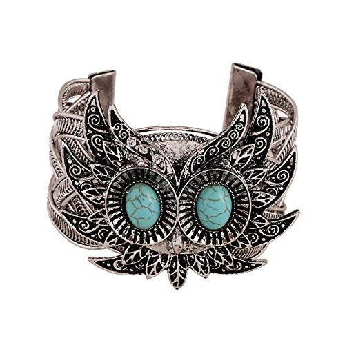 1 Stück einzigartiges Metall Armreif in Eule Look mit Türkis, Vintag Damen Armband Armkette, einzigartiger Armband, cooles Design, Fashion Trend, schöne Accessoires