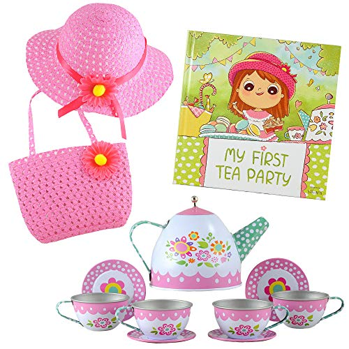 Tea Party Gift Set- Includes Book, Tea Set, Hat, and Purse. Perfect Pretend Play for Toddlers and Little Girls - My First Tea Party!