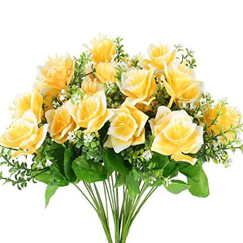 XHXSTORE 4PCS Künstliche Blumen Gelb Kunstblumen Blumenstrauß Plastikblumen Balkonpflanzen Unechte Blumen Herbstblumen für Drußen Garten Balkon Friedhof Zuhause Topf Dekoration