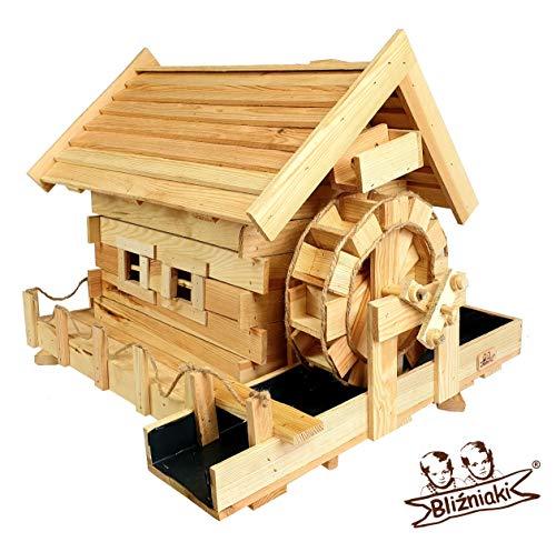 BLIZNIAKI Dekorativ Garten Wassermühle aus Holz 85x60x56cm einem rotierenden Mühlrad MWK3 N