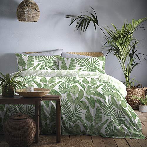 copripiumino verde Dreams & Drapes Tahiti - Set copripiumino facile da pulire – Super King Size