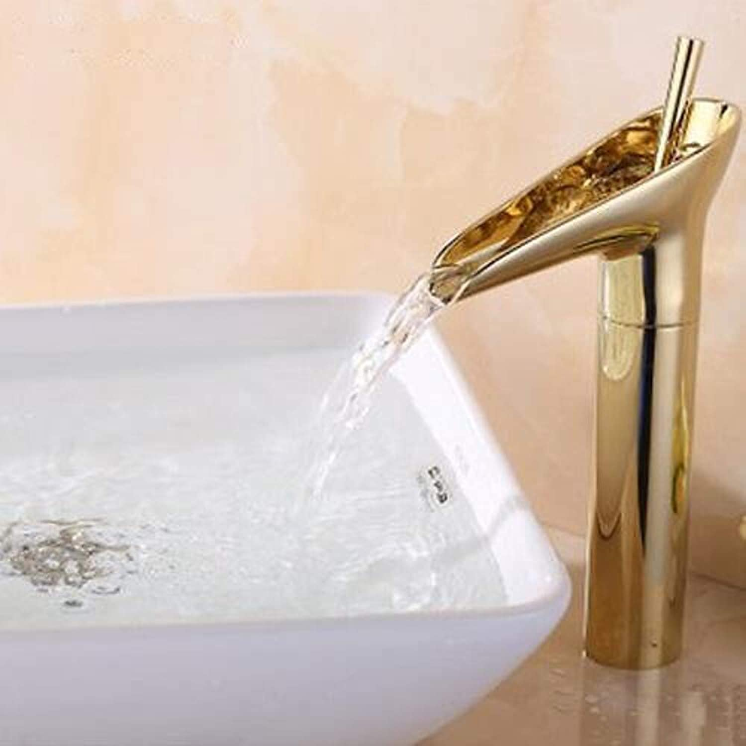 Bathroom Sink Faucet - Waterfall Ti-PVD Centerset One Hole Single Handle One Hole