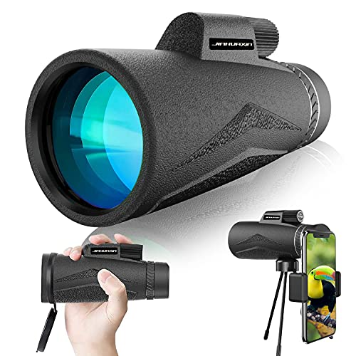 Jinhuaxin 12x50 HD Monocular Telescope, 1000M High Power Telescope, Anti-Fog, Dust-Proof Waterproof Monocular with Smartphone Adapter Tripod for Birdwatching Hunting Hiking Camping Sightseeing