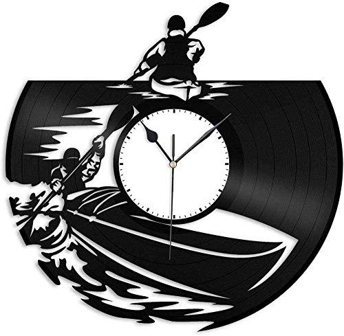 Reloj de Pared de Registro Reloj de Pared de Vinilo de Kayak entusiastas del Kayak Decoración del hogar 30 × 30Cm