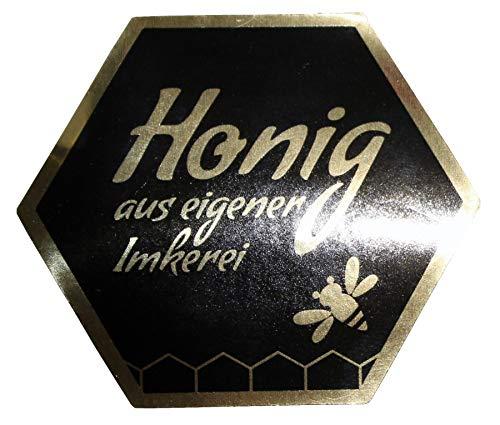Germerott Bienentechnik Honigetiketten in Wabenform für 500g jeweils 100 Vorder- und 100 Rückseiten SELBSTKLEBEND