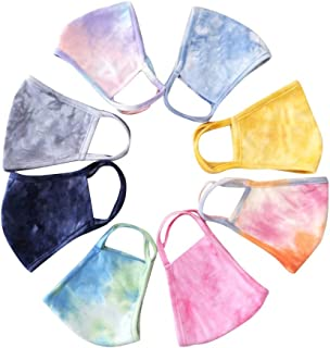 8PC Fashion Protect_Face_Mask_Cover Tie dye Color Washable Reusable Filters Cotton Fabric For Kids Adults Outdoor Activity ㏘2.5 Dust Safety Protection Novelty Floral Print Cute Design Made In USA