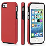 CellEver Compatible with iPhone 5/5s/SE (2016 Edition) Case, Dual Guard Protective Shock-Absorbing Scratch-Resistant Rugged Drop Protection Cover Designed for iPhone 5/5S/SE 2016 (Red)