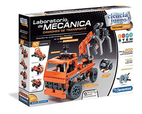 Clementoni- Juego Laboratorio de Mecánica Camiones de Transpo, Multicolor (552504)