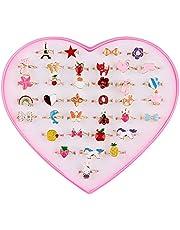 Anillos para Niñas Pequeñas 36 Piezas Los Anillos Ajustables chispean con Caja en Forma de corazón para Niños Cumpleaños Fiesta Regalo