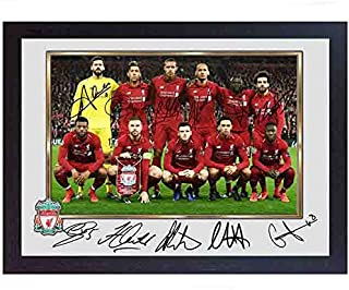 S&E DESING 2019 Liverpool FC MO Salah Mohamed Mane FIRMINO Full Signed Photo Poster Framed