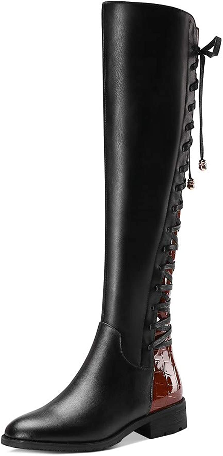 Nine Seven Genuine Leather Women's Round Toe Low Heel Lace Up Handmade Fashion Knee High Riding Boot