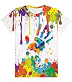 Yasswete Colorful Paint T-Shirts for Kid 3D Casual Summer Short Sleeve Graphic Tee Shirts for Boys Gilrs 6-8 Y