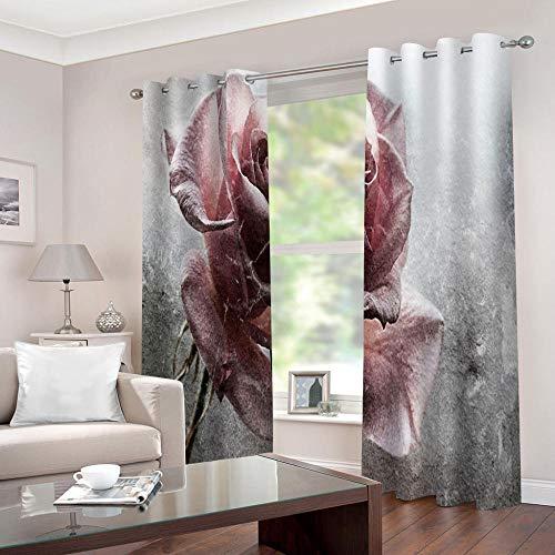 FFKJWL Cortinas habitacion Opacas 2 Piezas con Ojales 3D Rosa roja Vintage Cortinas termicas aislantes Frio y Calor para Salón Dormitorio Decoración de la Ventana 132x242cm
