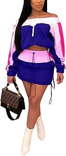 Katblink Women's 2 Piece Sportsuit- Long Sleeve Color Block Hooded Crop Top Bodycon Short Pants Set