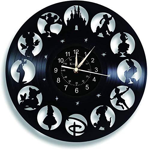 Smotly Vinilo Pared Reloj, Mickey Mouse de la Vendimia Pared Reloj, Dibujos Animados de Disney Reloj Regalos de cumpleaños Hecha a Mano de la Pared del hogar Decoración,E,sin luz
