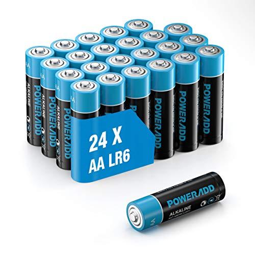 POWERADD AA Alkaline Batterien 1.5 V Mignon Battieren LR6 als leistungsstarke Einwegbatterien, geeignet für die Stromversorgung von Geräten des täglichen Bedarfs. 24er Pack