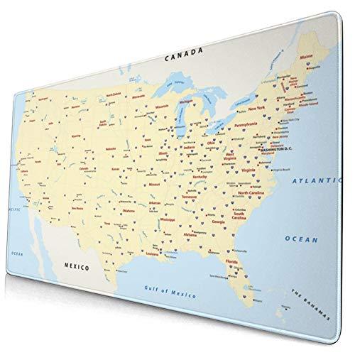 TARTINY Alfombrilla de ratón Mapa América Ciudades Interestatal Imprimir 400x750 mm Alfombrillas de Escritorio Profesionales Base de Goma Antideslizante Teclado Extra Grande para Juegos