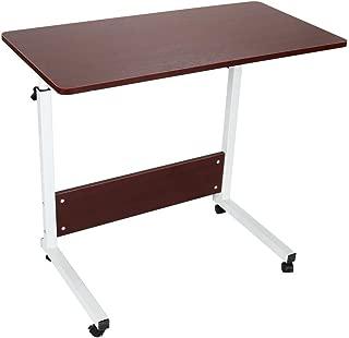 Pratcgoods Adjustable Laptop Desk Portable Computer Table with Wheels Standing Rolling desks Mobile Side Tables Movable Small Desk