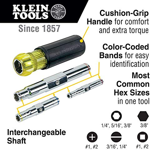 Klein Tools 32800 Nut Driver, 6-in-1 NutDriver Set, SAE Standard Six Point Hex Sizes with Heavy Duty Hollow Shaft , Black