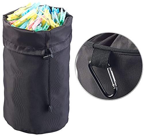 PEARL Wäscheklammerbeutel: Robuster Wäscheklammer-Beutel mit Karabiner-Haken für bis 100 Klammern (Behälter für Wäscheklammern)