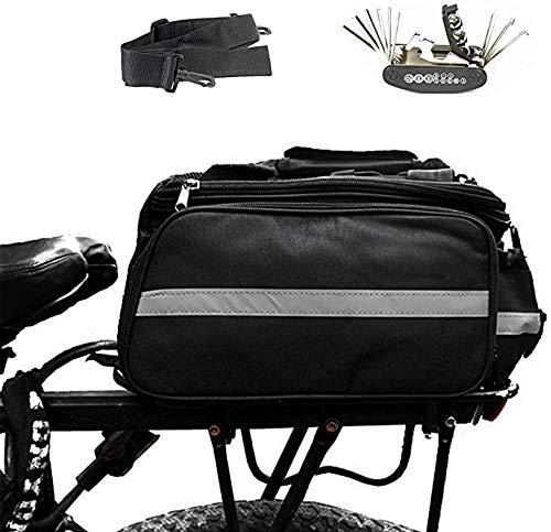 Robasiom Fahrrad-Gepäckträgertasche, wasserdicht, mit Schultergurt, Fahrradzubehör mit Regenschutz, reflektierendem Rand, starker Klettverschluss