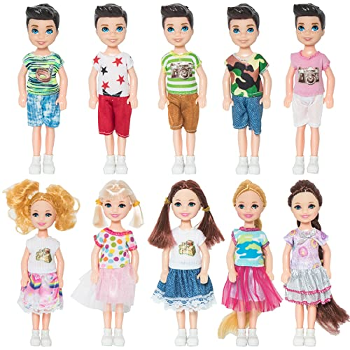 ONEST 10 Sets 5 Inch Mini Doll with Doll Clothes Party Grown Outfits Doll Accessories for Kids