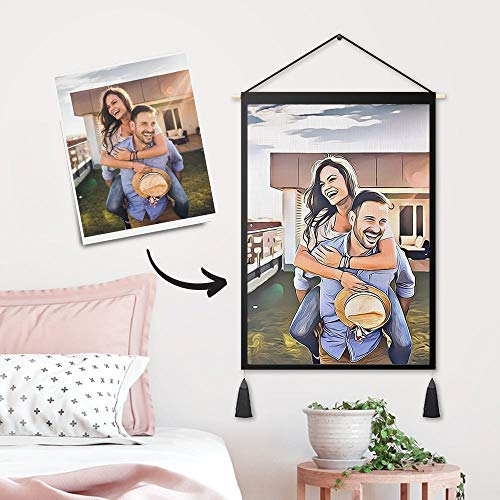 Personalisierte Tapisserie mit Eigenem Foto Bedrucken Wandteppich Wandbehang groß Home Wanddeko Balkon Bild Selbst Gestalten Kunst für Wohn/Schlaf/Kinderzimmer Geschenk Freunde Weihnachten Geburtstag
