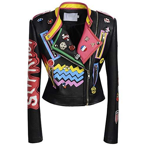 Biddtle Damen Fashion Lederjacke Bunter Druck Umlegekragen Punk Rock Studded Jacken Damen Mäntel Schwarz,S