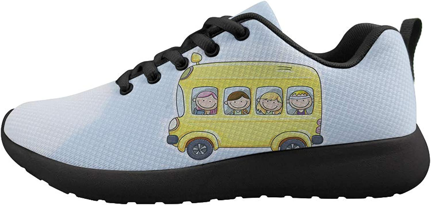 Cushioning Sneaker Trail Running shoes Mens Womens Boys and Girls Happily Smile On School Bus