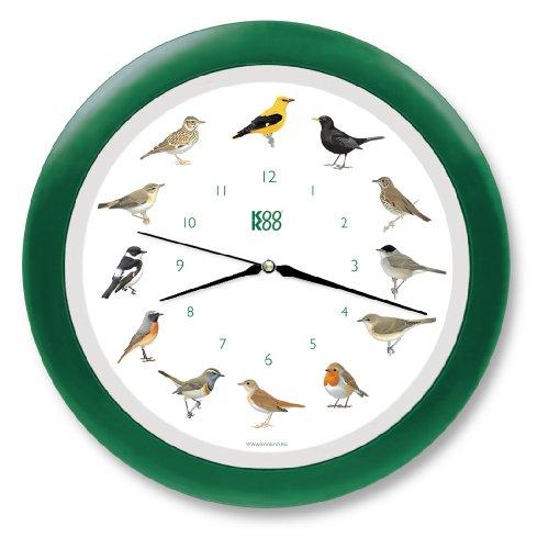 KOOKOO Singvögel Quarzwerk Grün, Die Singende Vogeluhr, ist eine Uhr mit 12 heimischen Singvögeln und echten, natürlichen Vogelstimmen, Wanduhr mit Lichtsensor