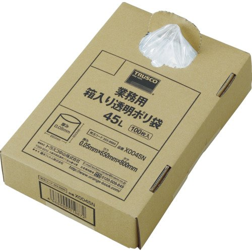 TRUSCO(トラスコ) まとめ買い 業務用ポリ袋 透明・箱入 0.05×120L (100枚入) X0120N