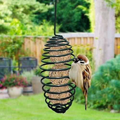 QIANHUA Outdoor Wild Garden Bird Automatische Zuführung mit hängendem Haken Eichhörnchen Fütterung Metallfeder Spiral Cage Food Dispenser Halter