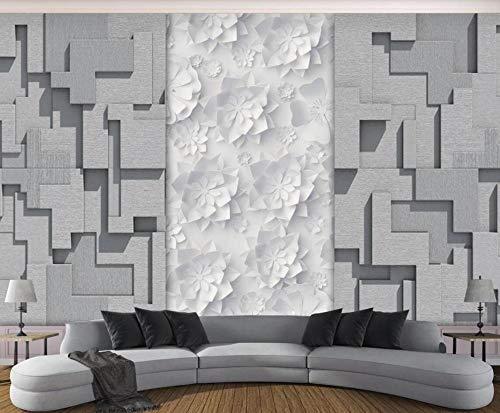 Papel Pintado 3D Origami Cuadrado De Flores Fotomurale 3D Tv Telón De Fondo Pared Decorativos Murales