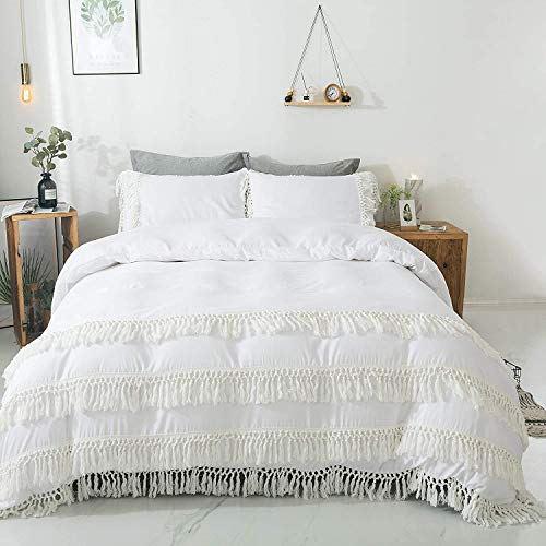 TEALP Boho White Double Duvet Cover Set with Tassels Bridal White 3pcs Girls 100% 200TC Cotton Rustic Bohemian White Bedding Pillow Cases Romantic Trimmings