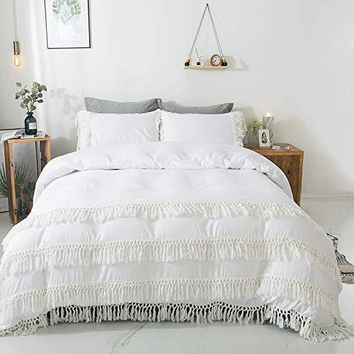 TEALP Boho White King Duvet Cover Set with Tassels Bridal White 3pcs Girls 100% 200TC Cotton Rustic Bohemian White Bedding Pillow Cases Romantic Trimmings