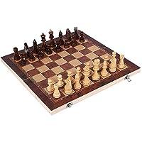 収納用折りたたみボード付き木製チェスチェッカーバックギャモンボードゲームセット
