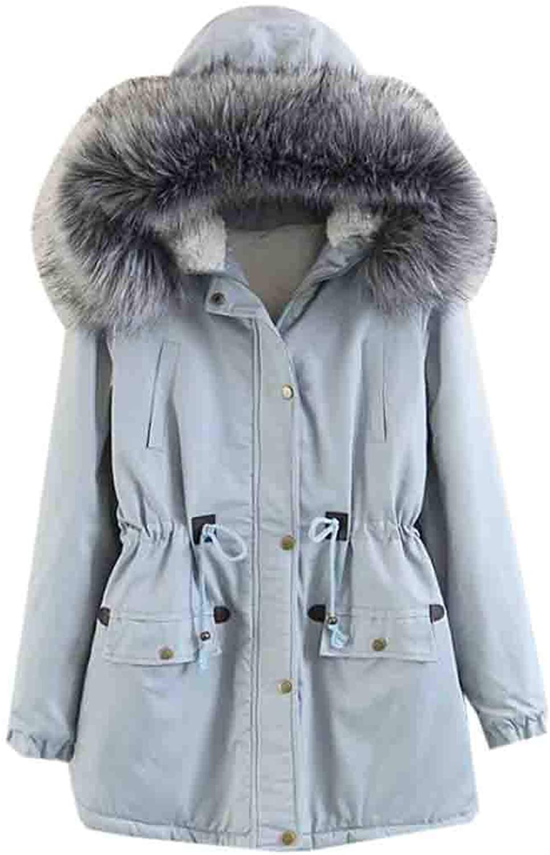 FRPE Women Drawstring Slim Mid Length Hood with FauxFur Trim Down Coat