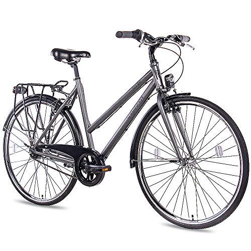 CHRISSON 28 Zoll Citybike Damen - City One anthrazit matt 50 cm - Damenfahrrad mit 7 Gang Shimano Nexus Nabenschaltung - praktisches Cityfahrrad für Frauen