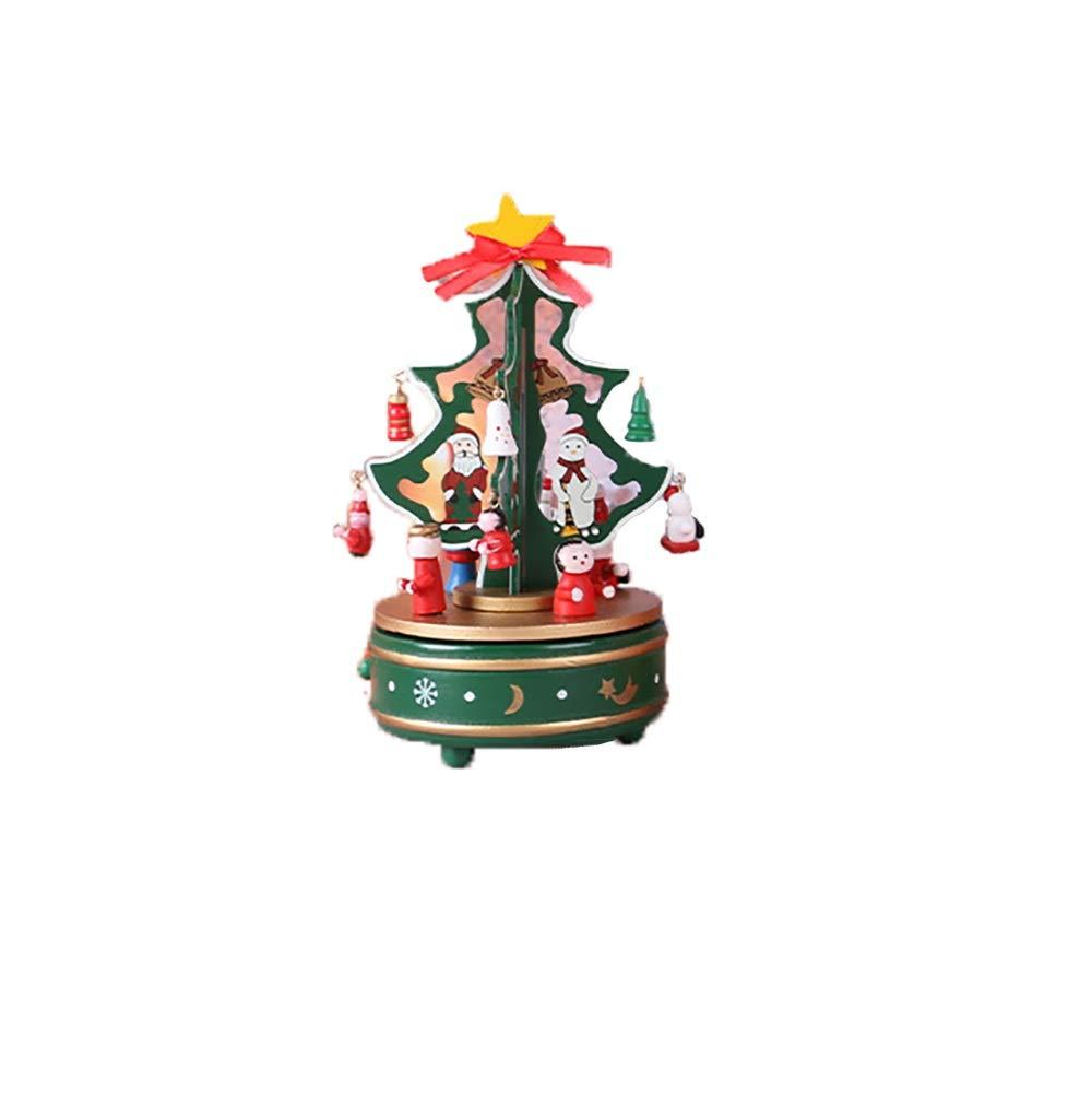 Be82aene Árbol de Navidad Madera Que giran la Caja de música de Navidad árbol de artesanías Adornos Enviar a Las niñas Suministros de Vacaciones de diseño Partido Suministros: Amazon.es: Hogar