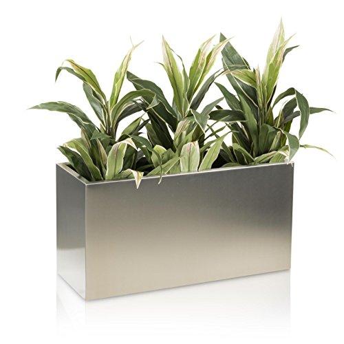 Pflanztrog Blumentrog VISIO 40 Edelstahl gebürstet, 80x30x40 cm - Farbe: Edelstahl - robuster, stabiler Pflanztopf, wetterfest & frostbeständig, geeignet für Innen -und Außenbereiche