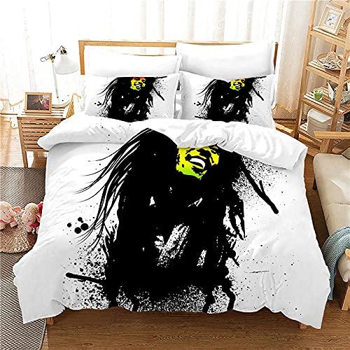 WSNALGQ Bob Marley en Blanco y Negro Juego de Funda nórdica de la Ropa de Cama 220x240cm Microfibra...