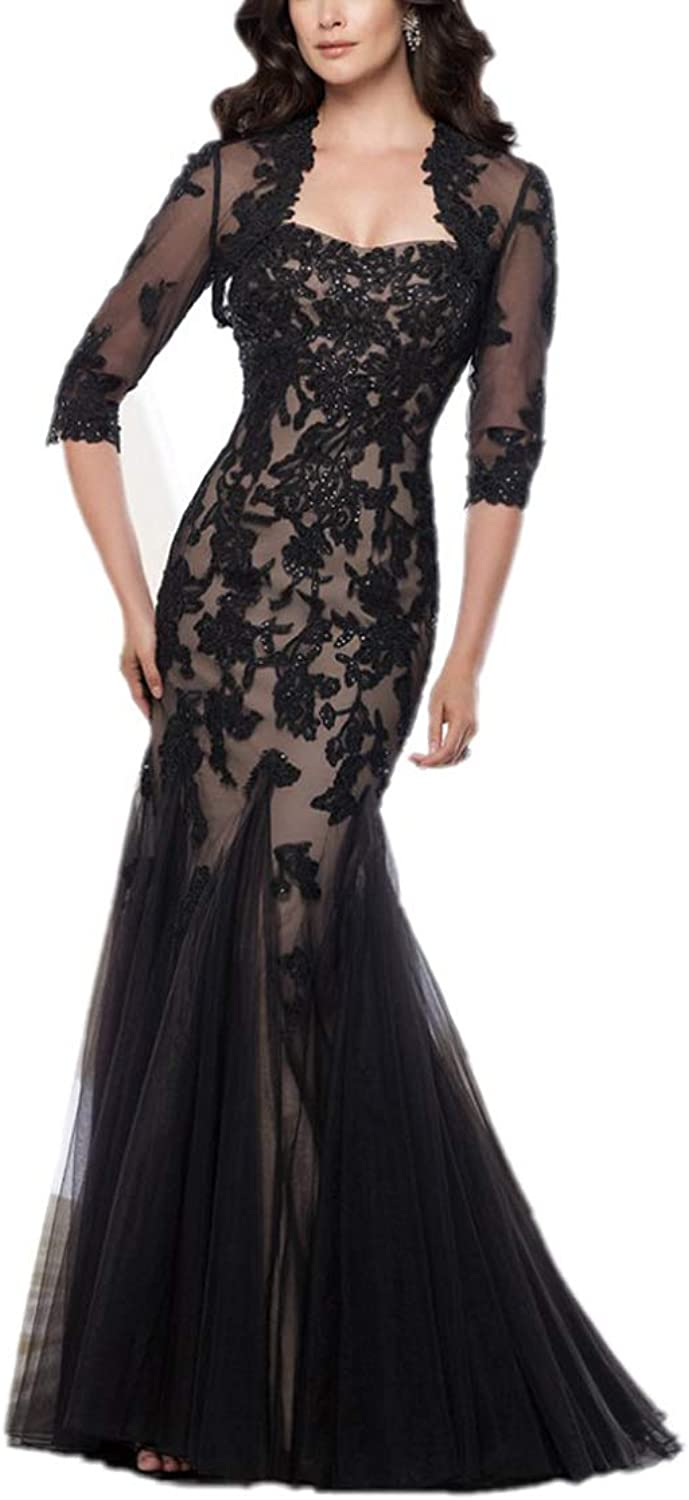 Yisha Bello Women's Lace Applique Beaded Long Tulle Mother of The Bride Dress with Jacket