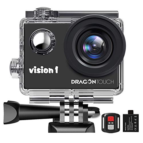 Dragon Touch 1080P Action Camera, Underwater 98ft Video Sports Cam with 2' LCD Screen, Remote and Mounting Accessories Kits-Vision 1