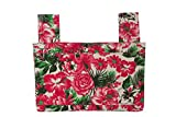 Qelse Designer Walker Bag 3-Pocket Tote Organizer Pouch Pink and Green Flowers Accessories for Beautiful Mobility