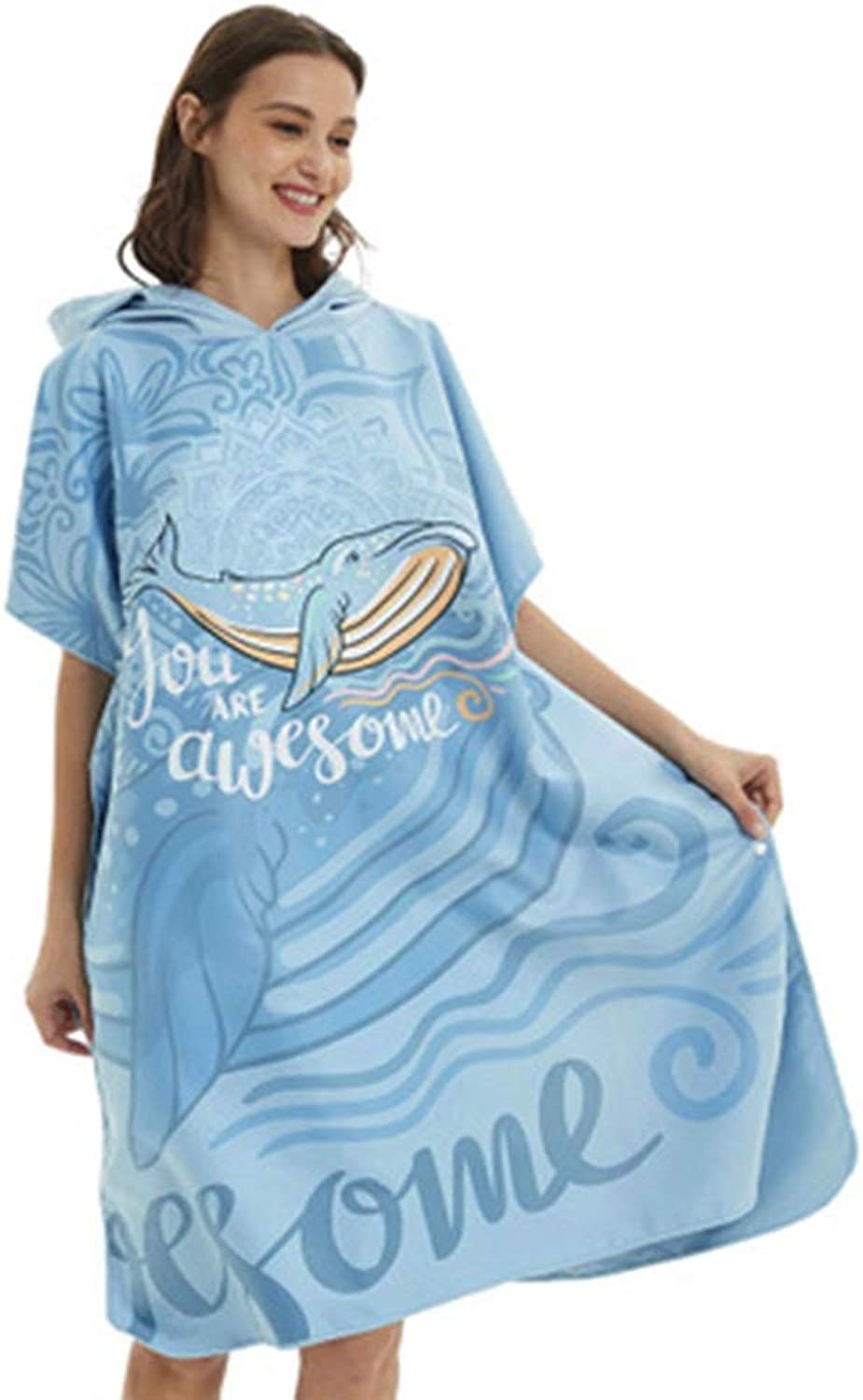Changing Bath Robe with Hood Bath Towel Bathrobe Microfiber Towel Can Be Worn Quickly Dry Water Swimming Diving Beach Free bluee Whale for Beach Surf Swim Triathlon (color   bluee, Size   One Size)