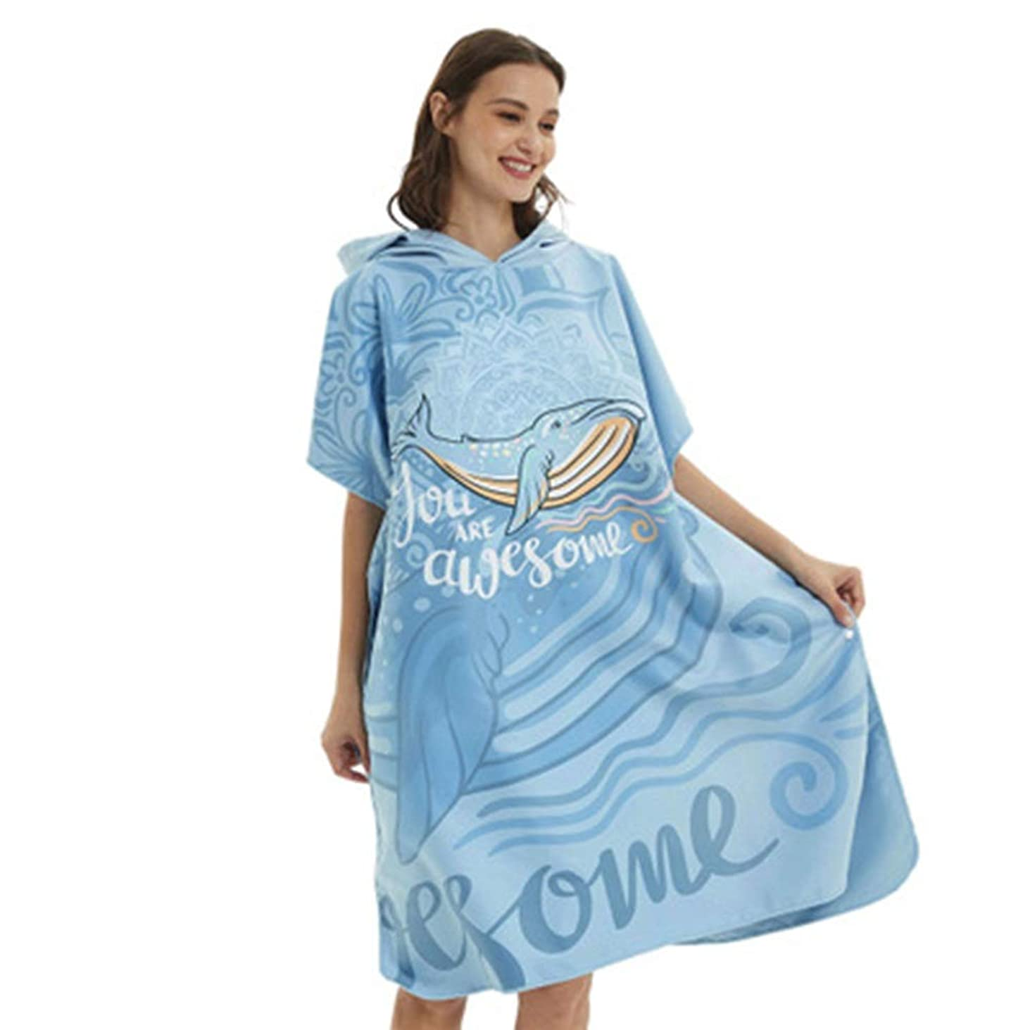協会順応性アームストロングビーチチェンジングタオル バスタオルバスローブマイクロファイバータオルすぐに着用することができますドライウォータースイミングダイビングビーチ無料シロナガスクジラ (色 : 青, サイズ : ワンサイズ)