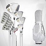 ZDAMN Conjunto de Palo de Golf Golf Club de Golf Set Hombres Set Golf 3 Maderas 1 Ironwood +8 Irons 1 Putters Caps 13 Bolas + 1 Paquete de Bola Golf Juegos Comp (Color : White, Size : 13)