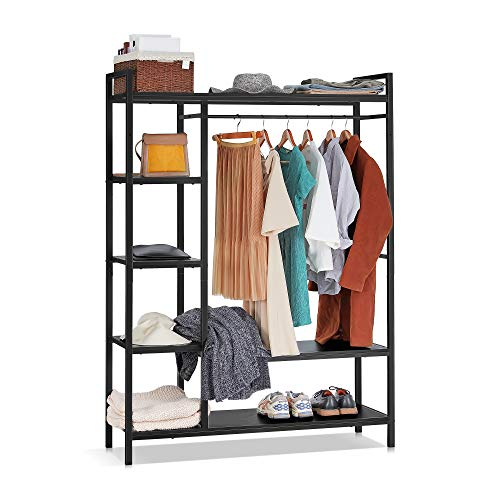kealive Freestanding Closet Organizer Heavy Duty Clothing Rack with Shelves, Industrial Wood Wardrobe Garment Rack for Hanging Clothes and Storage (Black)