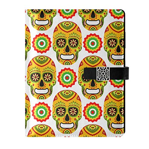 Leather Journal Notebook Diary Notepad Travel Mexican Day Dead Sugar Skull Refillable A5 Inner Filler Papers Ring Binder - Hardcover Notebook Gifts for Men & Women